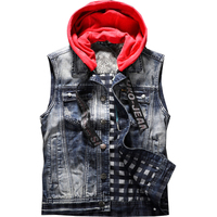 2019 Spring Mens Denim Vests Casual Jeans red Hooded Jackets Sleeveless Coats Waistcoat Mens Brand Clothing