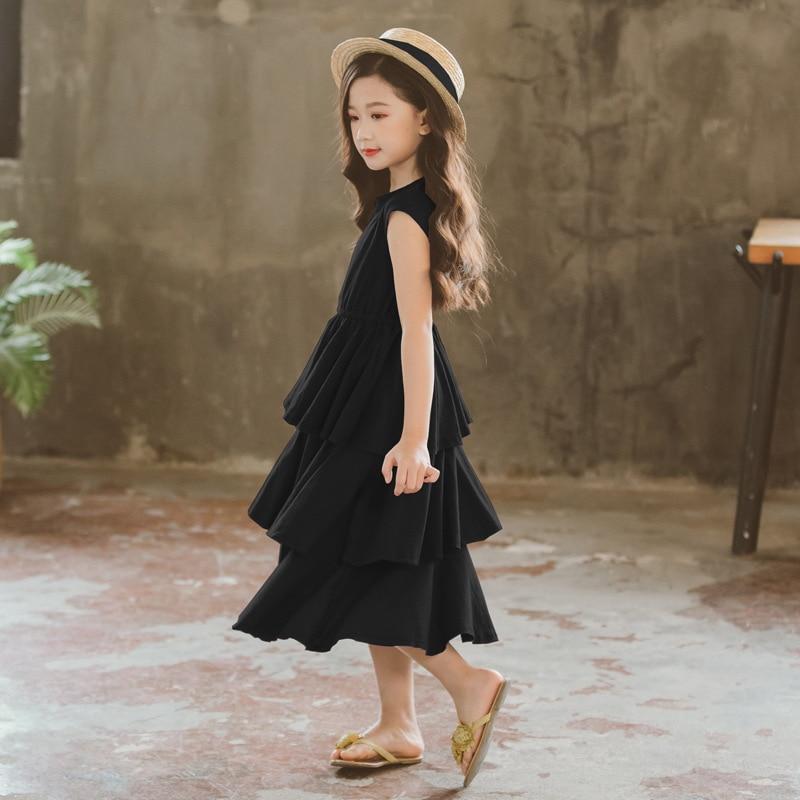 Czarny 3 warstwa sukienka z ciasta dla dziewczynek lato