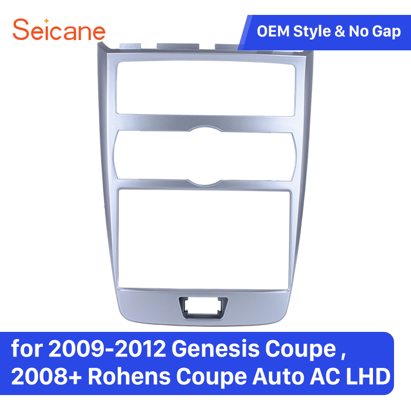 Seicane 2 Din Car Stereo Dashboard Refitting Trim Frame for 2009 2012 Genesis Coupe 2008+ Rohens Coupe Auto AC LHD Panel Plate
