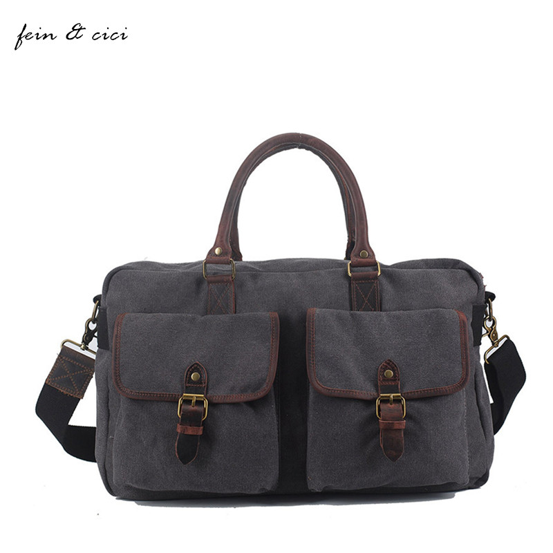 ФОТО casual canvas totes bag men crossbody bags vintage large big jumbo bag travels with genuine leather 2017 new arrivals summer bag