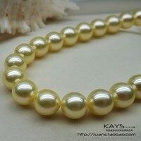 Для женщин подарок Слово 925 Стерлинговое Серебро, настоящее натуральный шампанское золото 9 10 мм японский Akoya Жемчужное ожерелье, отправить