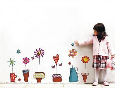 Cartoon Flower Butterfly wall Stickers DIY Decal Window glass Wall decor Home Decoration kids children Nursery room decor
