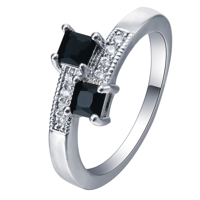 Fashion Black Zirconia Stone Square Rings For Women Wedding Band