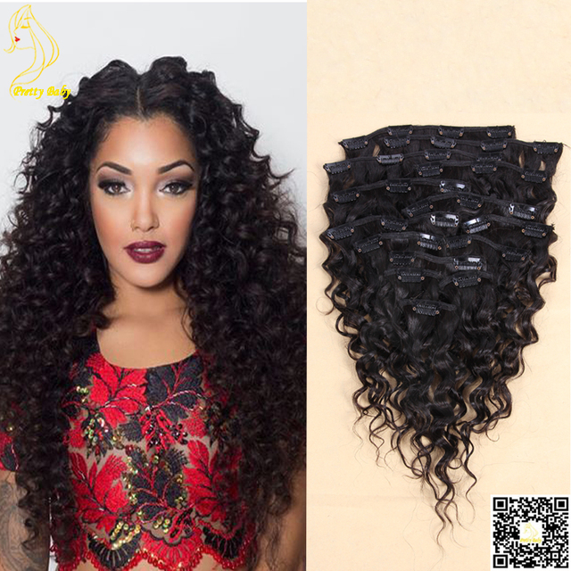 Deep Wave Clip In Human Hair Extensions Malaysian Virgin Remy Hair