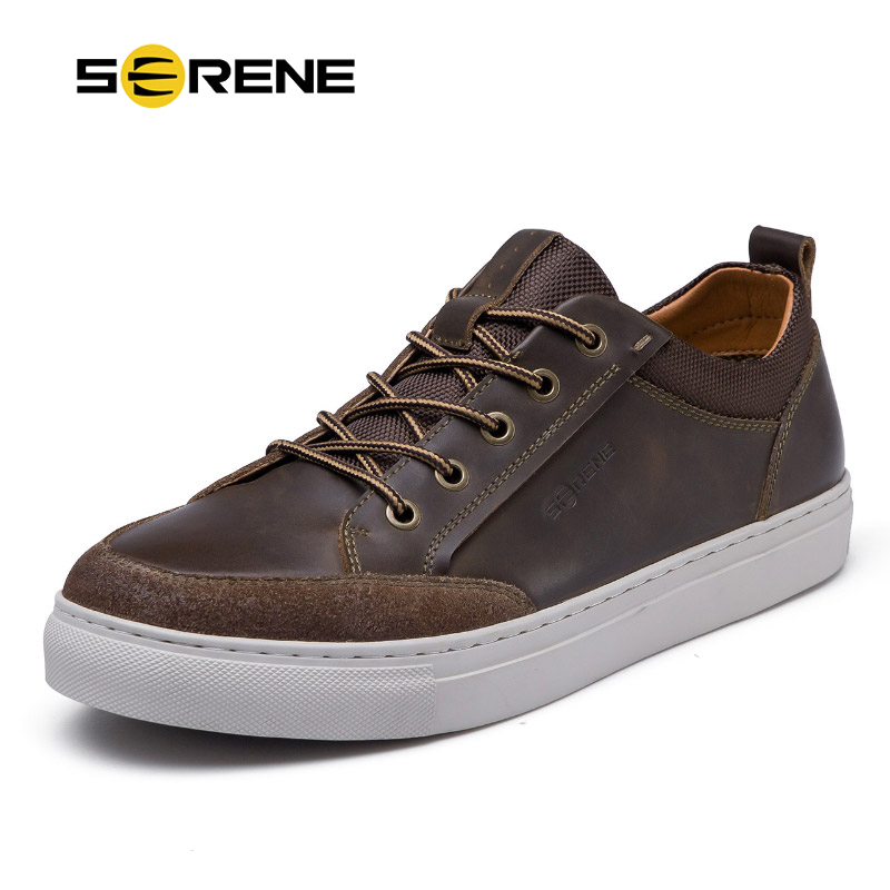 SERENE Brand Cow   Leather   Men Shoes High Quality Casual Lace-up Shoes Breathable Footwear Man   Suede   Shoes Retro Leisure Sneakers