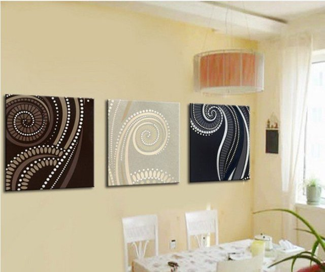 MODERN ABSTRACT CANVAS OIL PAINTING HANDPAINTE ART DECO 3 panels home deco art dinning room r04