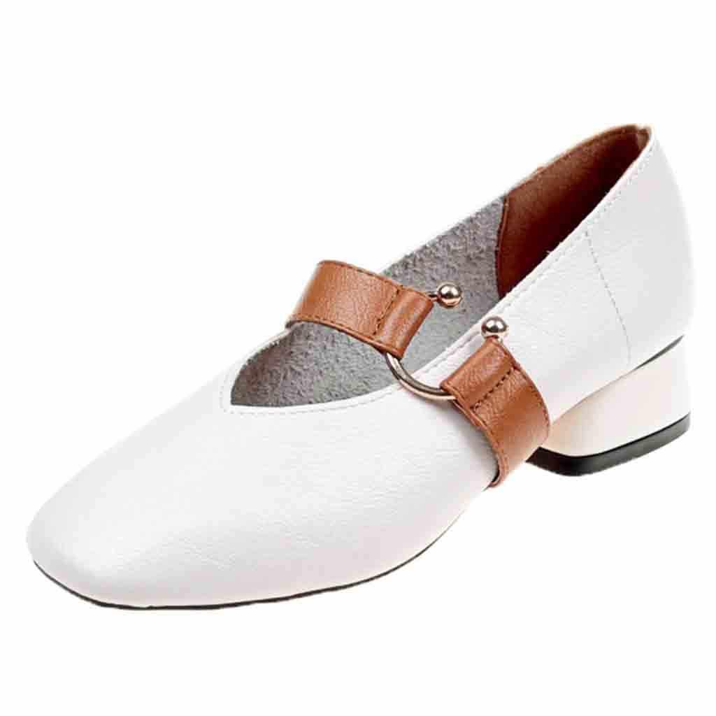 Модные женские туфли на среднем каблуке с закрытым носком; с квадратным носком; обувь для учащихся рабочие кожаные ботинки Для женщин; на каблуке; # g8