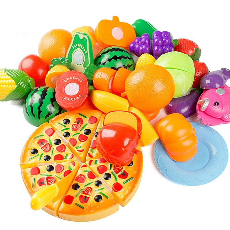 24Pcs Kids Kitchen Toys Plastic Food Food Toy Fruit Vegetable Cutting Kids Pretend Play Educational Toy Play Food Cooking Toys