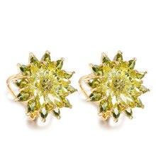 New AAA+ Olive Green & Purple CZ Charm Secret Fragrance Flower Stud Earrings Women Luxury Jewelry Daily Wear Accessories