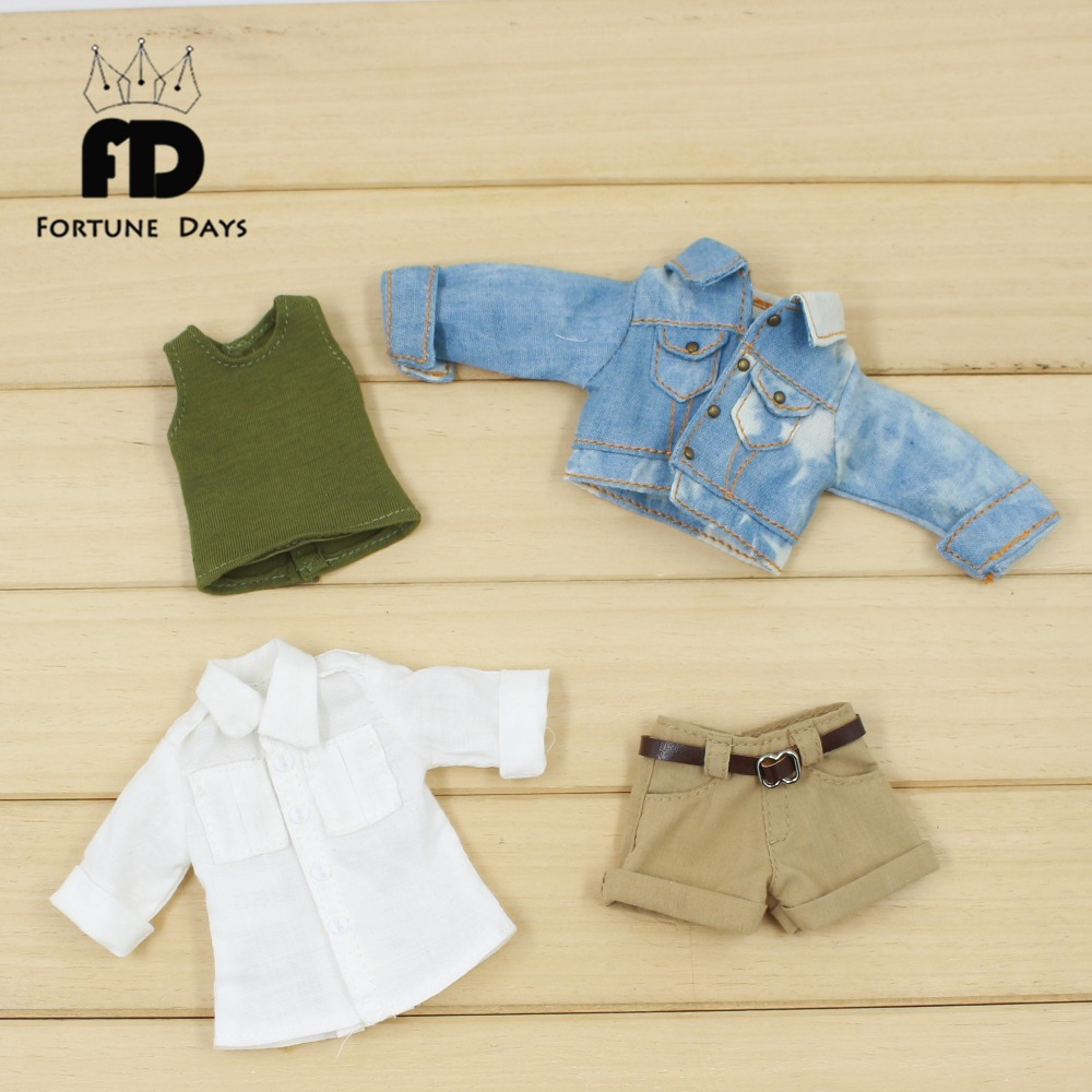 Free shipping for icy blyth doll licca body bjd 1/6 cool suit handsome clothes shorts white shirt jeans toy gift цена и фото