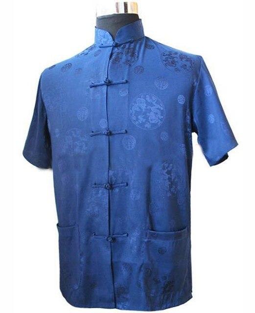 Темно-Синий Традиционный Китайский мужская Шелковый Атлас Кунг-Фу Рубашка Лучших с Дракон Размер Sml XL XXL XXXL Бесплатная Доставка M2066