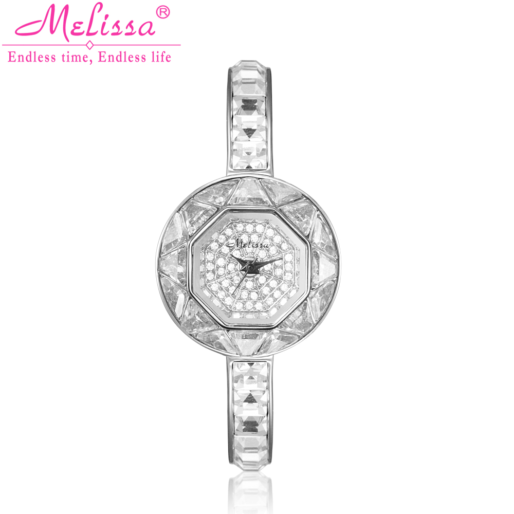 Top Luxury Melissa Lady Women's Watch Elegant Rhinestone CZ Fashion Hours Dress Bangle Bracelet Crystal Clock Girl Birthday Gift цена и фото