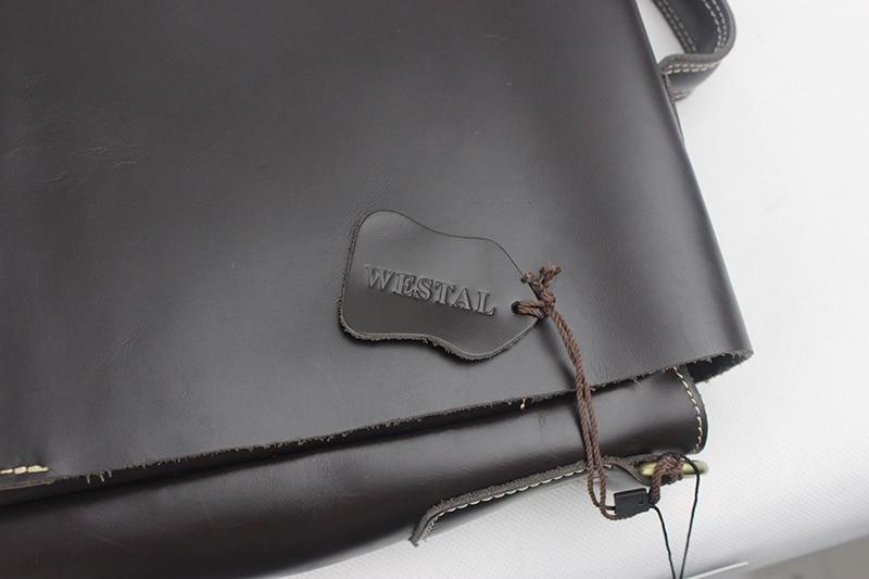WESTAL Leather Men Laptop Bags Genuine Leather Man Crossbody Shoulder Handbag Men's Briefcase Male Bag Laptop Messenger Bag 9878