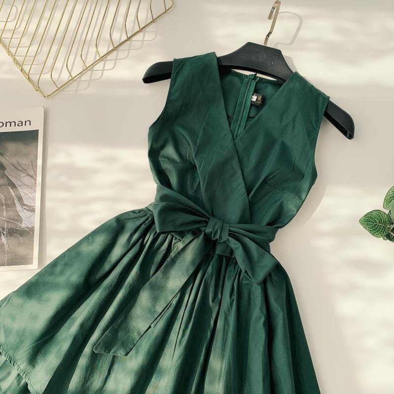 Korean Vintage Pure V Collar Sleeveless High Waist Bow Tie Double Ruffle Holiday Dress Women Vestidos E348 74