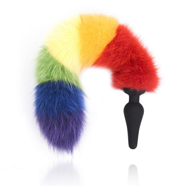 New Rainbow Colorful Anal Plug Tail, Faux Tail Butt Plug, Animal RolePlay Cat Tail Cosplay, Sex Products, Erotic Sex Toys