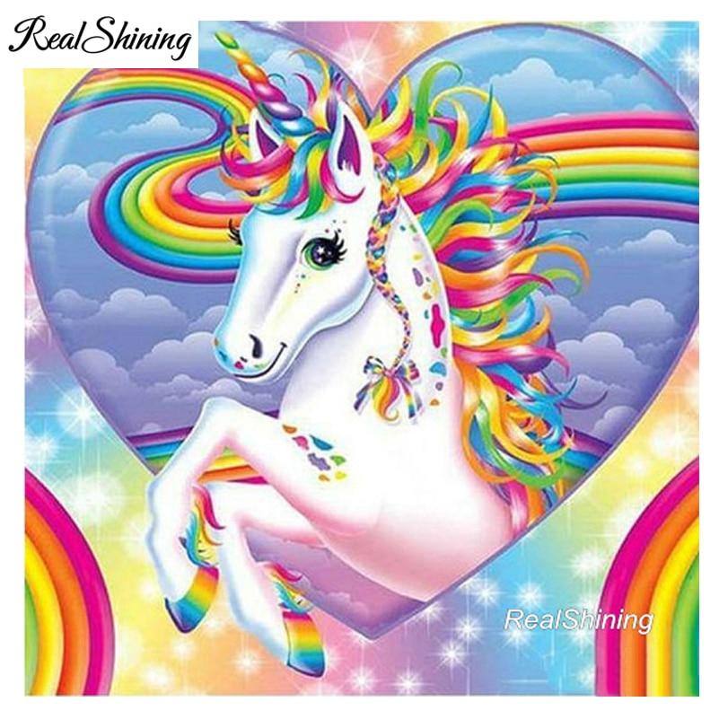 REALSHINING 5D DIY Diamond embroidery Rainbow Unicorn diamond painting Cross Stitch full square Rhinestone mosaic decor FS1001