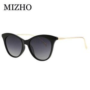 Image 2 - MIZHO marca futuro Metal Vintage gafas de sol polarizadas mujer Ojo de gato blanco UV400 gafas pequeñas mujer gafas de sol claro Visual