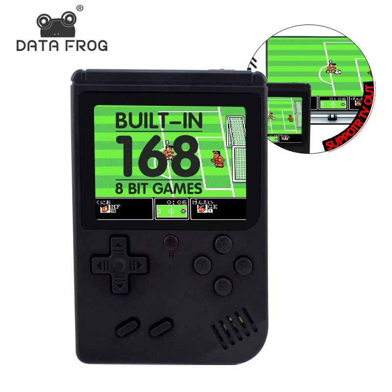 Data Frog Retro mini game console protable 168 retro 8 bit games AV out football games Handheld Game best gift for kids