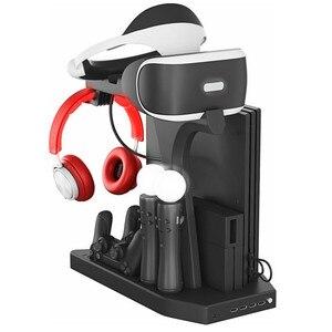 Вертикальная подставка для PS4 VR 1/2 PS4 PS4 Pro Slim PSVR, контроллер, зарядное устройство, стенд для зарядки, охлаждающий вентилятор, кулер