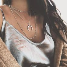 Bohemian Delicate Vintage Necklace Multilayer Curved Crescent Moon Silver Women Lady Jewelry Collier