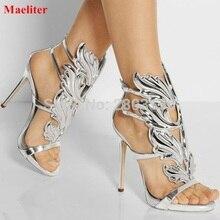 Пикантные женские Босоножки с открытым носком лист пламени с вырезами Обувь на высоком каблуке сандалии-гладиаторы для вечеринок женская обувь крылья каблук-шпилька насосы