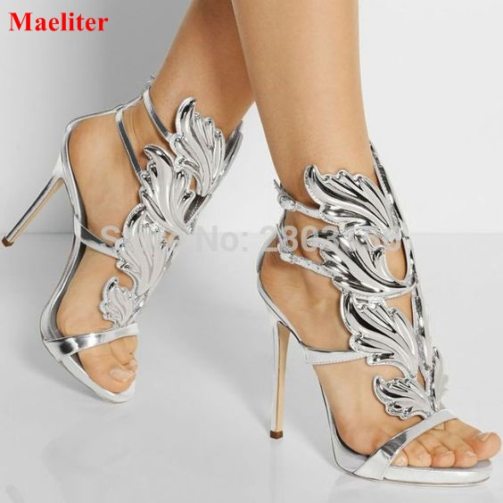 b762134e2a Sexy women open toe sandals leaf flame cut outs high heels gladiator sandals  party shoes woman wings stiletto heel pumps