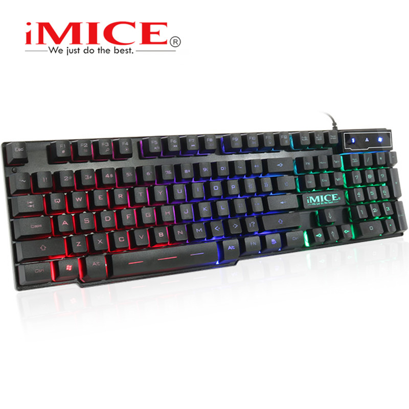 IMice Wired Gaming Keyboard Mecânica Sentimento + adesivo Russa Teclados Retroiluminado USB Wired LED RGB 104 Teclas de Computador PC + x7 rato