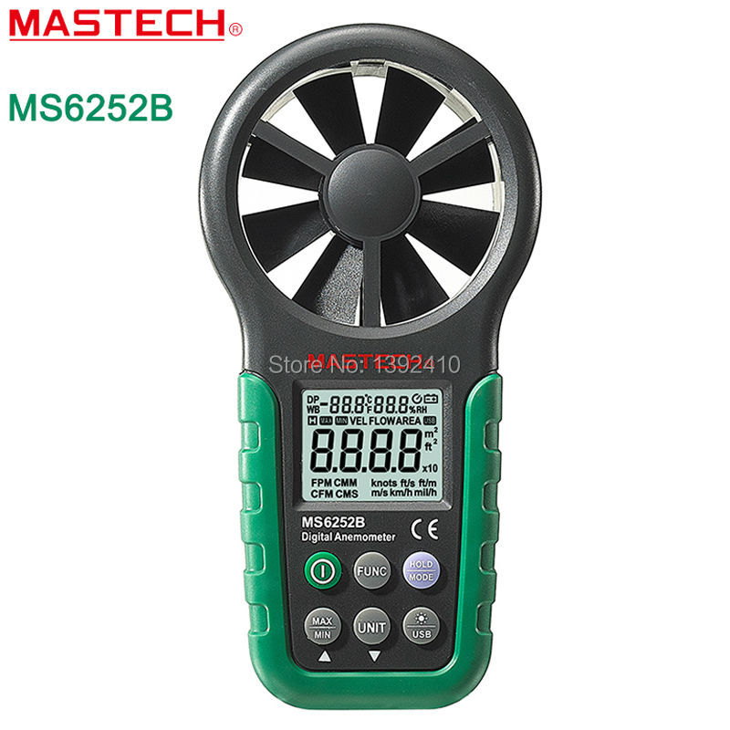 MASTECH MS6252B Handheld Digital Anemometer Wind Speed Meter Air Flow Tester With USB Interface az8904 handheld digital anemometer wind speed meter wind speed tester electronic measuring instruments air volume meter