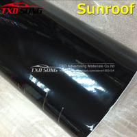 Glossy Black Car Sunroof Wrap Roof Film Vinyl DIY Sticker Waterproof Air Release 1.35x15m/Roll by free shipping