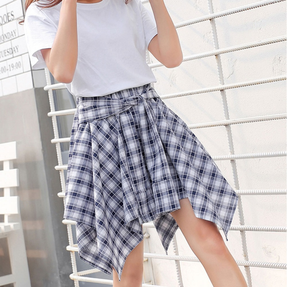 0189b2be64a46 US $7.78 38% OFF BEST Women Girl Elastic Waist Plaid School Skater Causal  Knot Front Mini Skirt-in Skirts from Women's Clothing on Aliexpress.com    ...