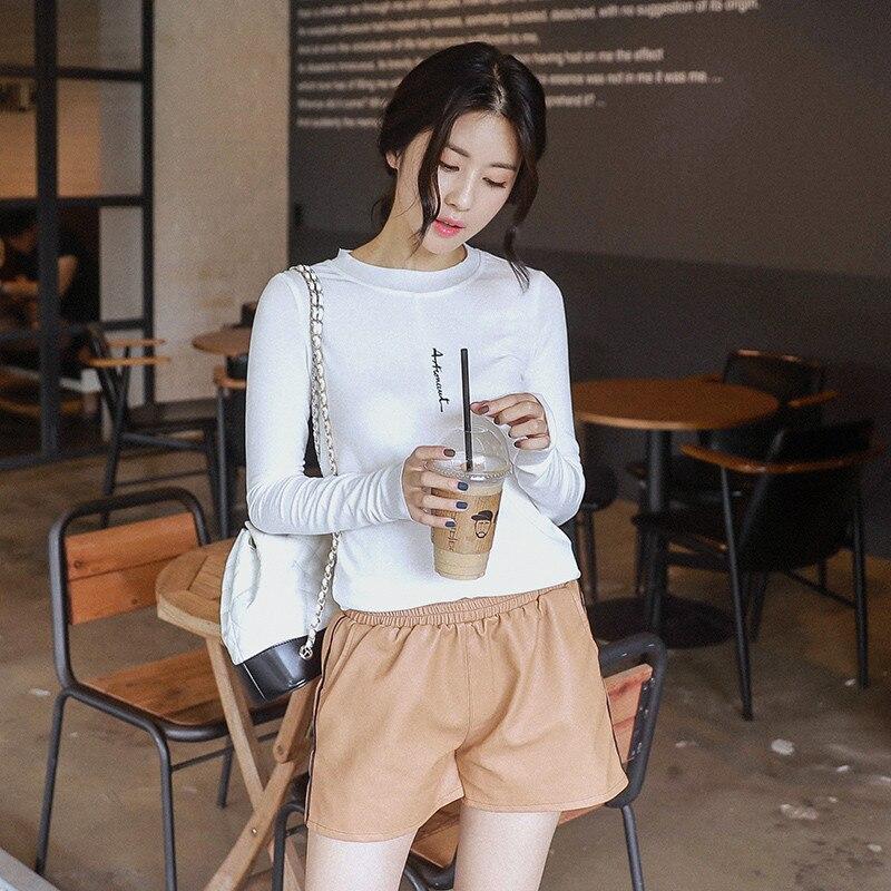 2018 Autumn Women O Neck T Shirt Letter Print T-shirt Casual Long Sleeve Tops Tee Female Tops All Match Tops Tee Tshirt Femme