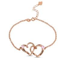 AILIN Custom Two Hearts Bracelet Rose Gold Color Bracelets For Women Engraved Name