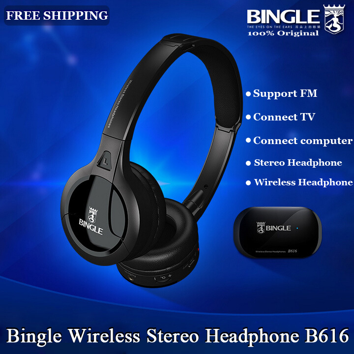 цена на 2018 Original Bingle B616 Multifunction Stereo Wireless Headset Headphones With Microphone FM Radio for MP3 PC TV Audio Phones