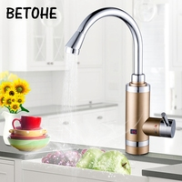 Tankless Electric Hot Water Heater Stainless Steel Kitchen LED Digital Temperature Display Instant Tap Heating Faucet 3000W