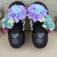 Original Handmade Chrysanthemum Gemstone Pearls Black Thick Soles Wedges Heel Flip Flops Free Shipping Fast Delivery