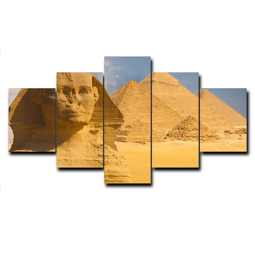 Laeacco 5 Panel Pop Canvas Painting Pyramid Wall Artwork Places of Interest Posters and Prints for Home Living Room Decoration in Painting Calligraphy from Home Garden