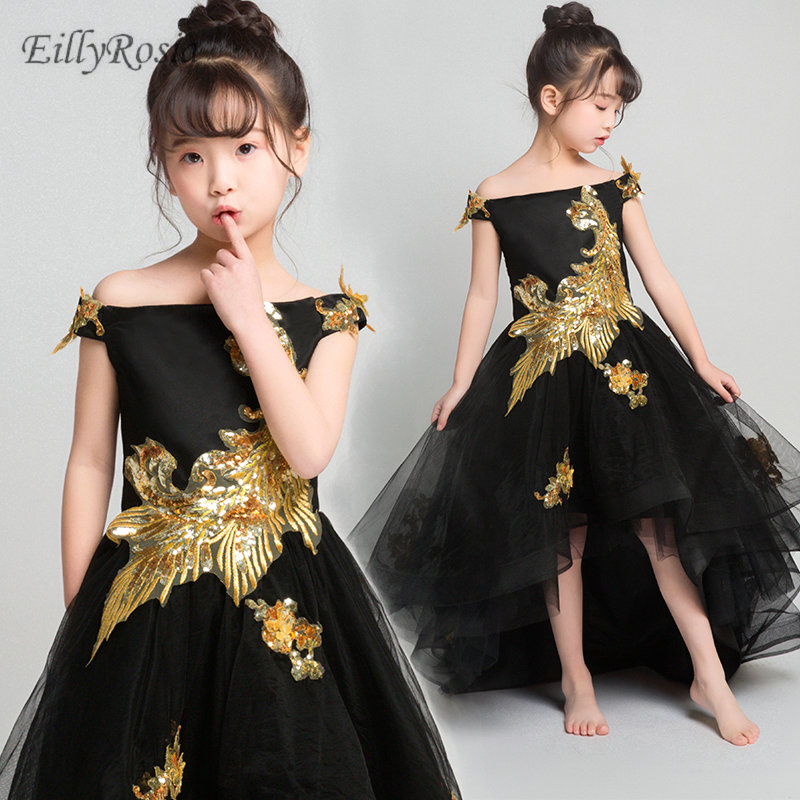 High Low   Flower     Girls     Dresses   for Wedding Party Gold Sequins Appliques Boat Neck A Line Cheap Tulle Christmas   Dress   for   Girls