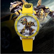2017Children transformers children watch cartoon sports watch Relogio Relojes robot convert bumblebee toy boy watch