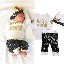 Newborn Hello World Coming Home Outfits 3 PCs Set