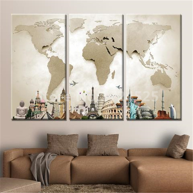 hot sale sale 3 pieces modular pictures for home abstract wall art painting world map