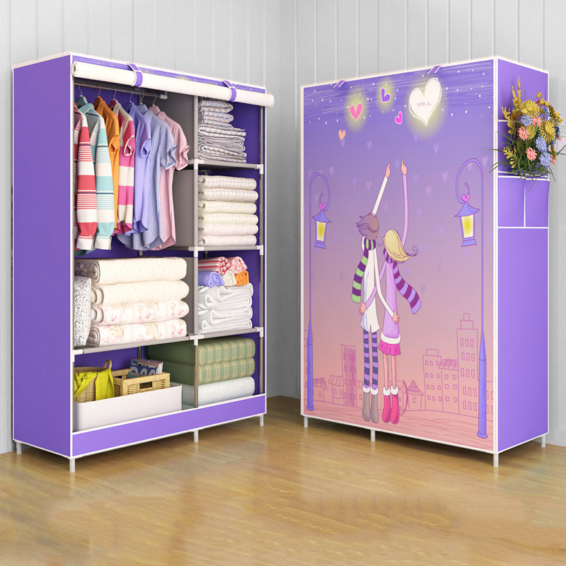 Image 2 - GIANTEX Cloth Wardrobe For clothes Fabric Folding Portable Closet Storage Cabinet Bedroom Home Furniture-in Wardrobes from Furniture