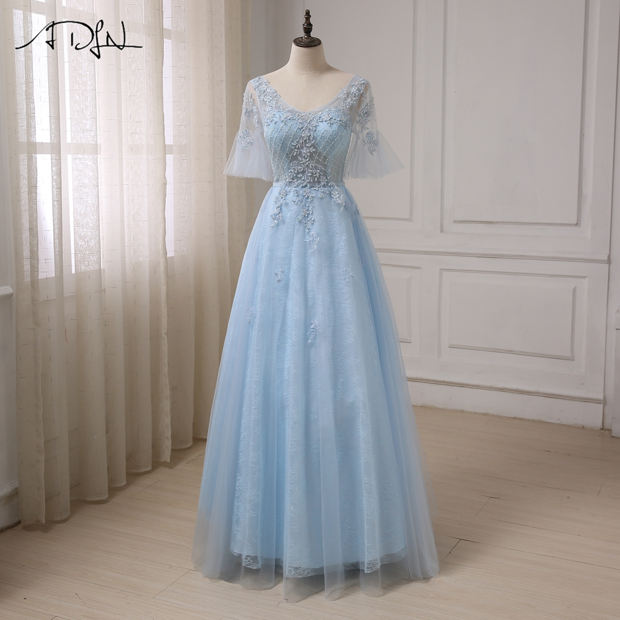 ADLN Cheap Romantic Evening Dress Princess Sleeves Applique Beaded ...