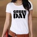 Green Day Logo Лето Белый Тонкий Стиль Графический Печати футболка Женщины Футболка Swag Одежда Ти Топ Подарок Печатных Музыка