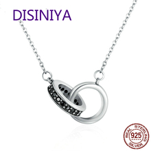DISINIYA  Real Silver 925 Black Circle CZ Pendant Female Jewelry Legal Gift SCN147