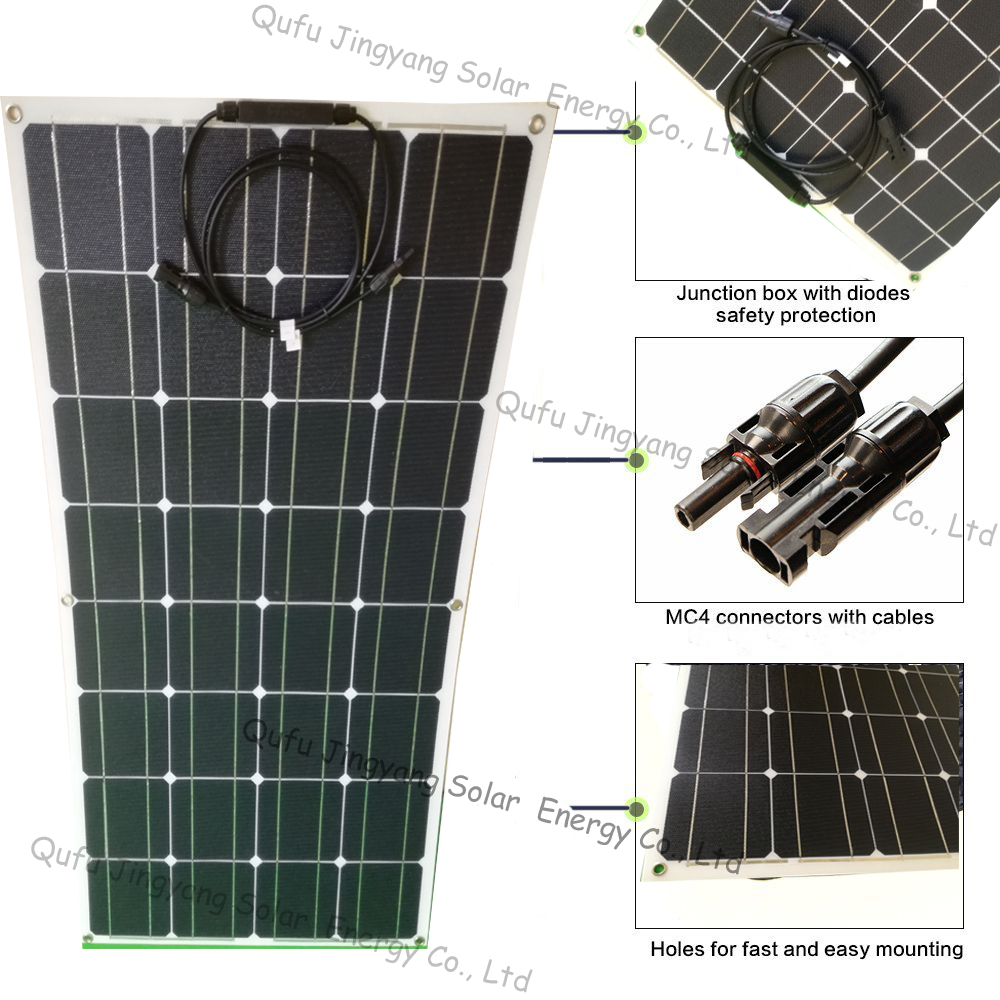 1pcs White ETFE 100W flexible solar panel 18V made of back contact cells with durable ETFE