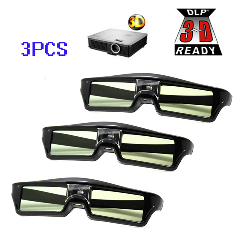 цена на Free Shipping!!3pcs/lots ATCO Professional Universal DLP LINK Shutter Active 3D Glasses For 3D Ready DLP Projector