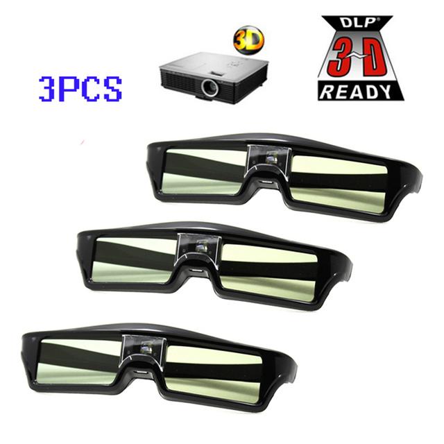 Frete Grátis!! 3 unidades/lotes ATCO Profissional Universal LIGAÇÃO DLP Do Obturador Ativo Óculos 3D Para 3D Ready DLP Projector