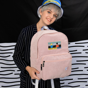 Image 4 - Sáng tạo và thực tế màu hồng và màu xanh hải quân nhung thêu ba lô cho các trường học và đi du lịch trong CẢNH series (VUI VẺ KIK)