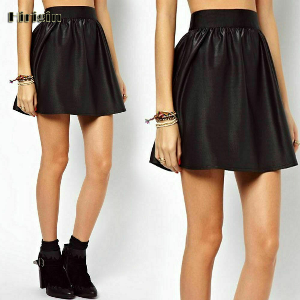 Women Skirt Pleated High-Waist Ladies Short Sexy New Faux PU Party