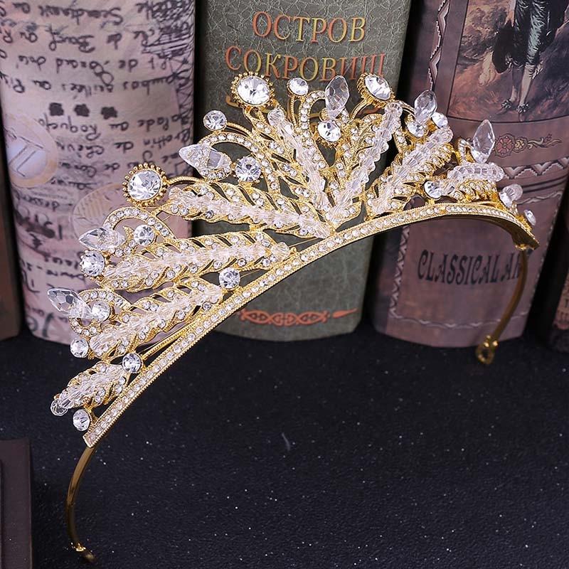 Women Girls Crystal Tiaras Crowns Hair Jewelry Beads Princess Hair Jewelry Bride Headbands Wedding Tiara Crown Headdress LB